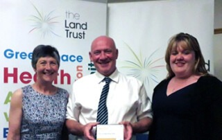 Anne Litherland and Terry Usher at the Lands Trust Managing Agency Conference awards ceremony in Northumberland
