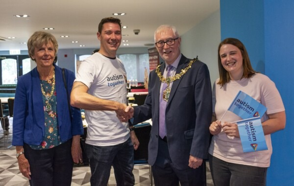 Our Marathon runner meets Wirral Mayor, with Mayoress and Chloe Jones from Autism Together