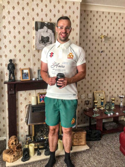 Andrew Edwards in his kit for Chirk Cricket Club